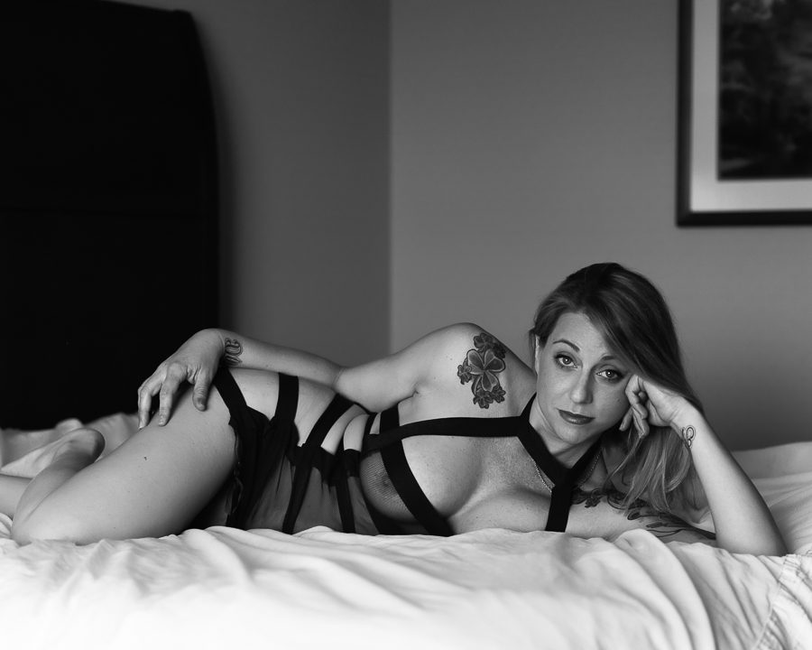 black and white nude boudoir