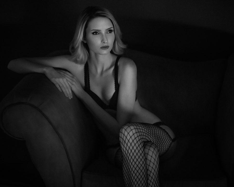 white boudoir stockings Black and
